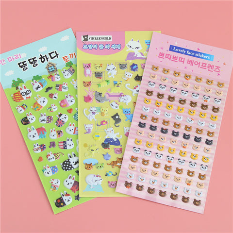 Kawaii 3d Cartoon Foam Sticker 1piece Cute Popular Style Children Gift Stickers Book Diary Decoration Sticky Notes