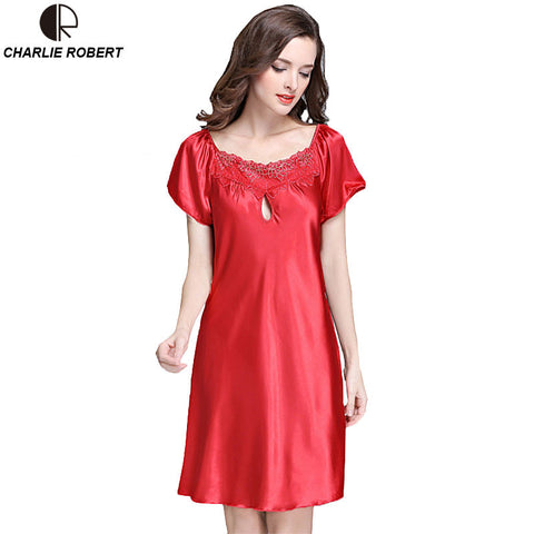 New Women's Sexy Lingerie Satin Silk Night Dress Plus Size S ~ 4XL Sleepwear 9 Color Lace Nightgown Elegant  Summer Dress AP355