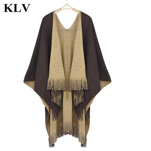 Casual Brand New Women Autumn Winter Knitted Cashmere Poncho Capes Solid Dual Shawl Swing Cloak Cardigans Sweater Coat Female