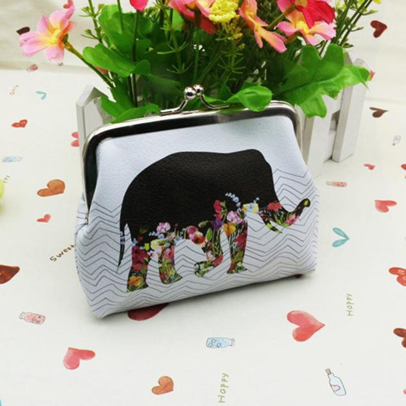 Fashion Women Coin Purse Cartoon Elephant Girls Kids Mini Wallet