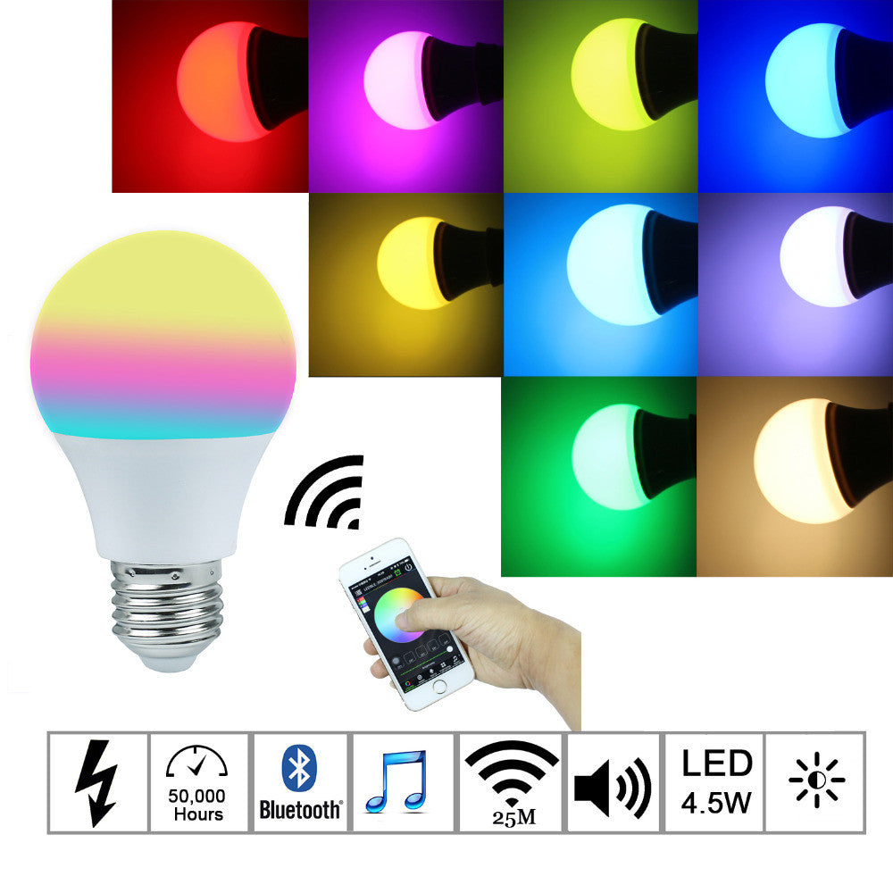 Bluetooth LED Bulb 4.5W E27 RGBW led lights Bluetooth 4.0 smart