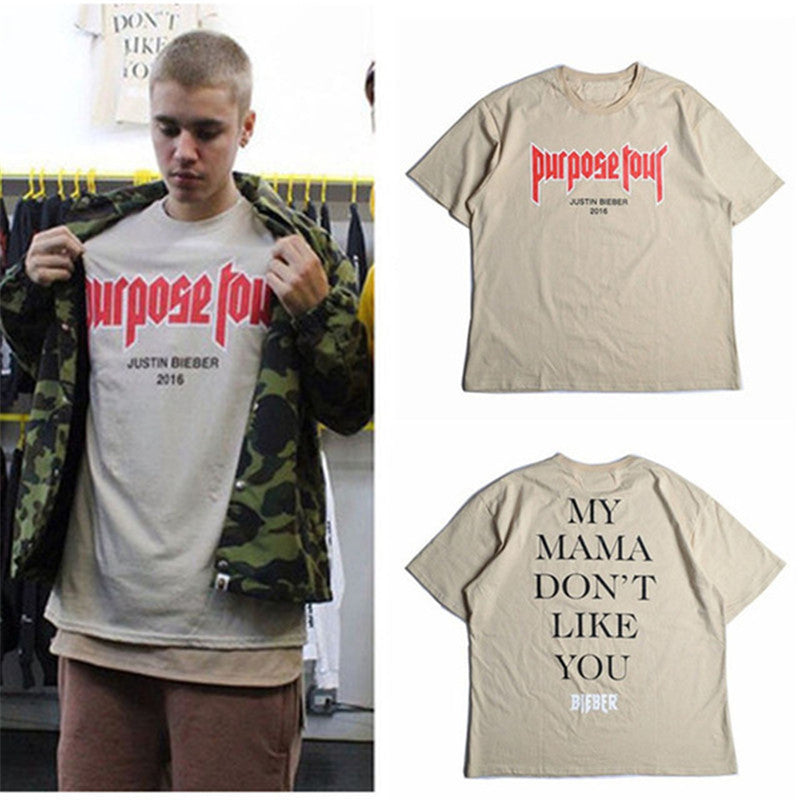 Men T shirt Justin Bieber Purpose Tour Fashion Hip Hop Short Sleeve