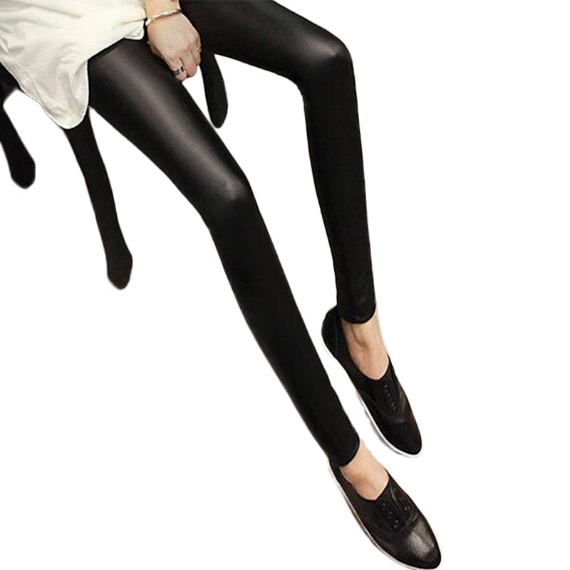 Black Women Leggings Faux Leather High Quality Slim Women's Leggings