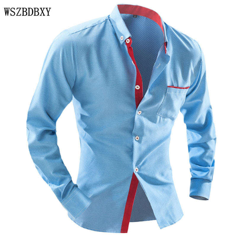 Brand 2017 Dress Shirts Mens Polka Dot Shirt Slim Fit Male Shirts