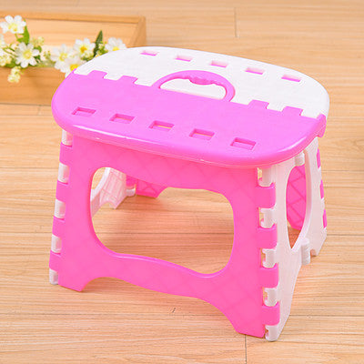 Blue Yellow Plastic Folding Stool 6 Type Thicken Step Ottoman Portable