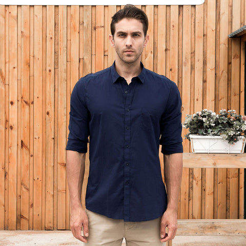 Casual Shirt Hawaiian Male Shirt Men Slim Fit Shirt Long Sleeves Social Cotton Plain Solid British Style