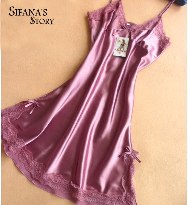 Ladies Sexy Silk Satin Night Dress Sleeveless Nighties V-neck