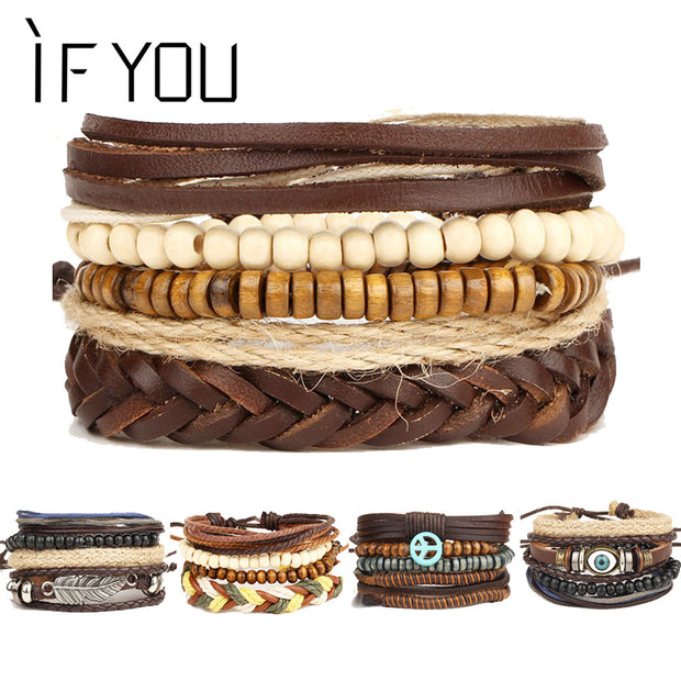 2017 New Brinco Rock Leather Bracelet Men Jewelry Wood Bead