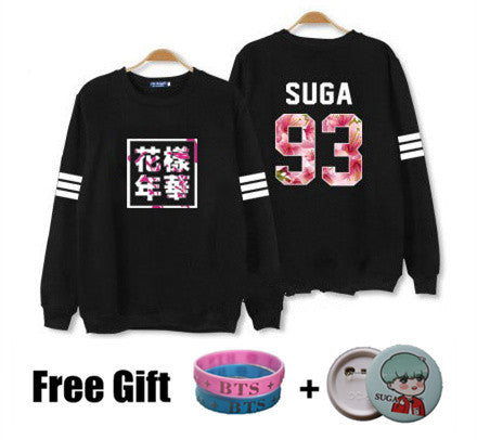 Kpop bts hoodies for men women bangtan boys album floral letter