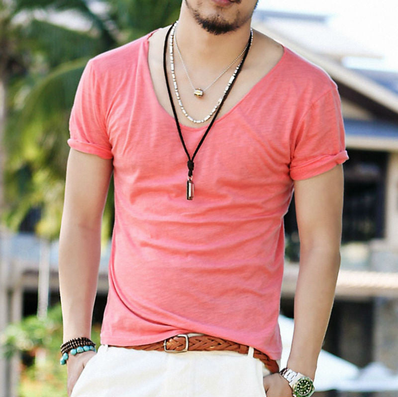 Men's Exclusive Pretty Tops V Neck Shorts Sleeve T Shirts Stunning Cut