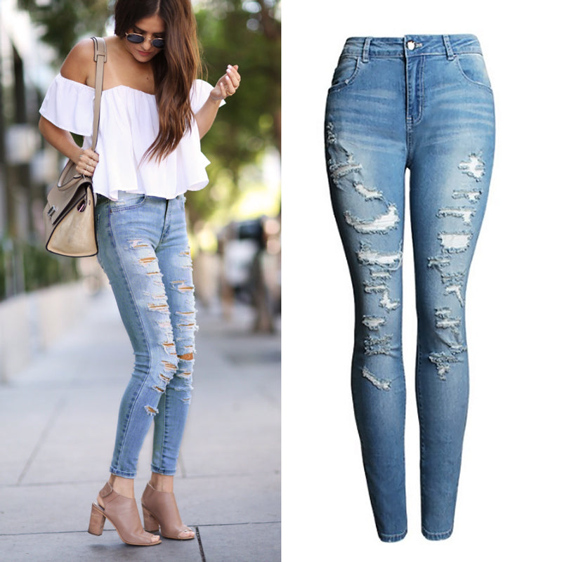 2074 New 2017  High Waist Jeans Ladies Cotton Denim Pants Stretch