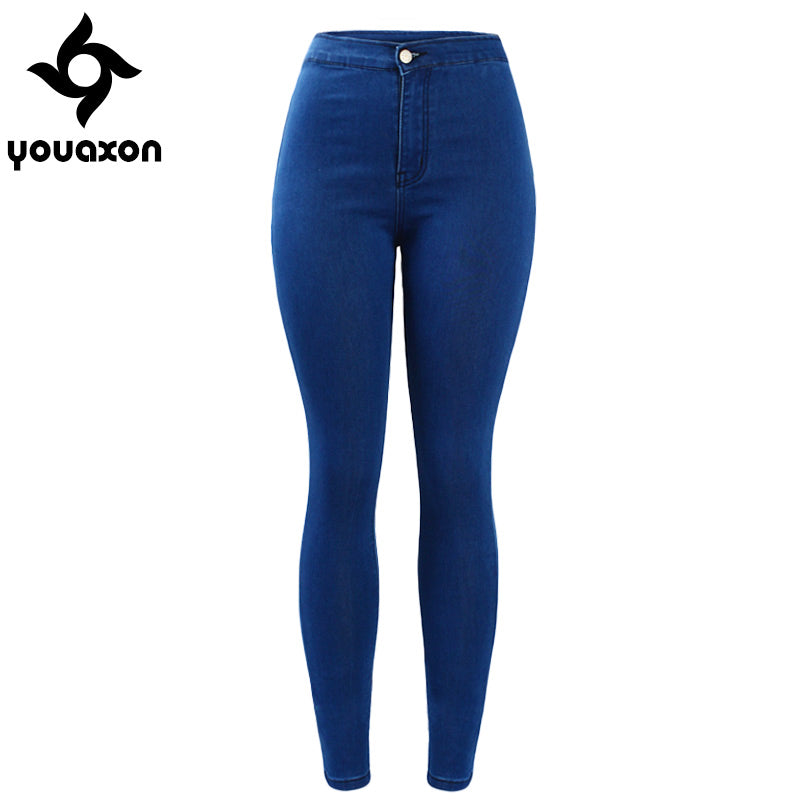 1894 Youaxon Women`s Brand New High Street Blue High Waist Skinny