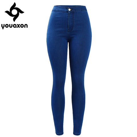 1894 Youaxon Women`s Brand New High Street Blue High Waist Skinny Denim Pants Jeans For Women Jean Free Shipping