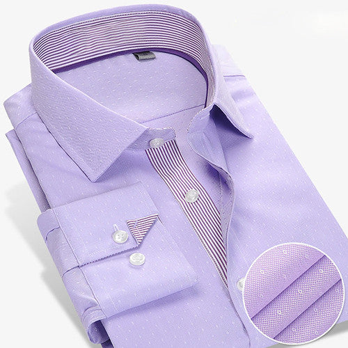 CAIZIYIJIA 2016 Men's Micro Dot Dress Shirt Contrast Stripe Placket