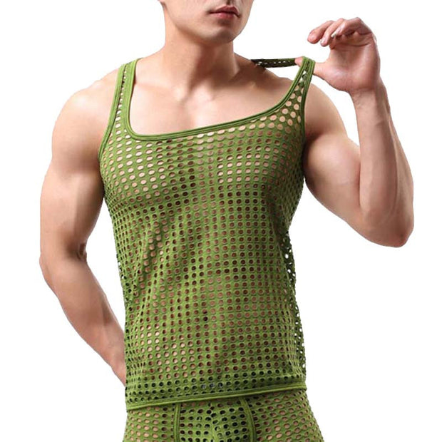 Fishnet Men Sexy Transparent Bodybuilding Stringer Tank Tops Fashion
