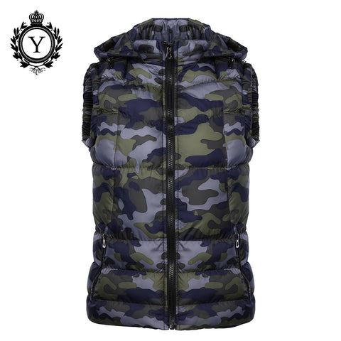 COUTUDI New 2016 Winter Jackets Vest Hoody Camouflage Printed Down Cotton Jacket Coats Short Sleeveless Quality Mens Warm Vests