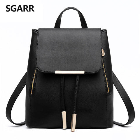 SGARR Women Backpacks Solid Fashion School Bag For Teenage Girls High Quality PU Leather Vintage Waterproof Backpack Travel Bags