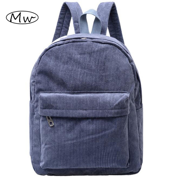 Women Backpack 2016 Solid Corduroy Backpack Simple Tote Backpack