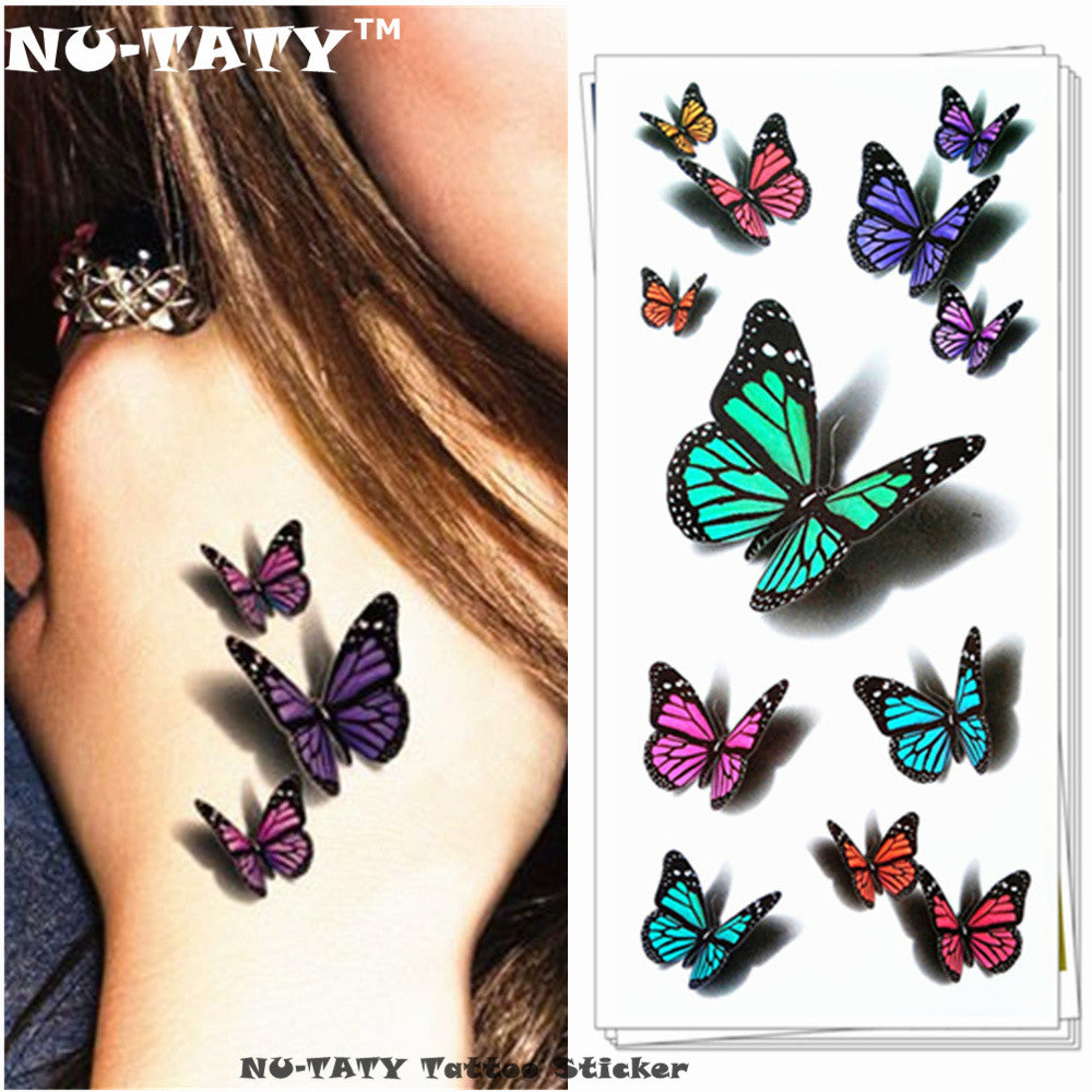 NU-TATY Amazing Butterfly 3d Temporary Tattoo Body Art Flash Tattoo