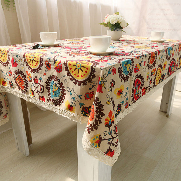 Bohemian National Wind Decorative Table Cloth Cotton Linen Lace