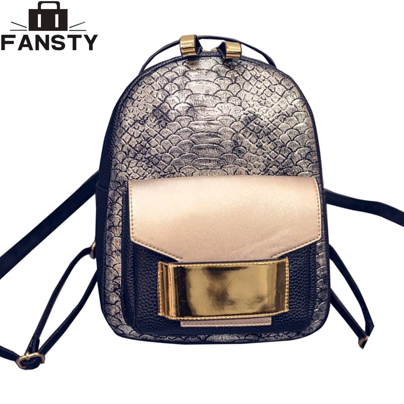 2016 New Snake PU Leather Women Backpack Female Fashion Rucksack Brand