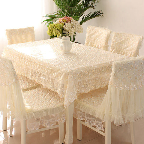 white Lace Tablecloth Lace Table Cloth Knitted Vintage Dining Table Cover Knitting Hollow Out 5 Sizes Banquet Kitchen Wedding