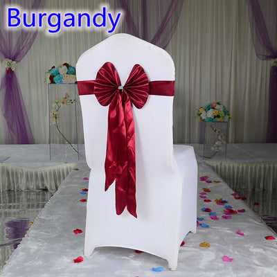 Burgandy colour wedding chair sash long tail wedding butterfly bow tie