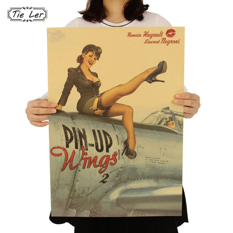 TIE LER World War ll Sexy Girl Nostalgic Newspaper Poster Bar Cafe Adornment Wall Sticker 51.5X36cm