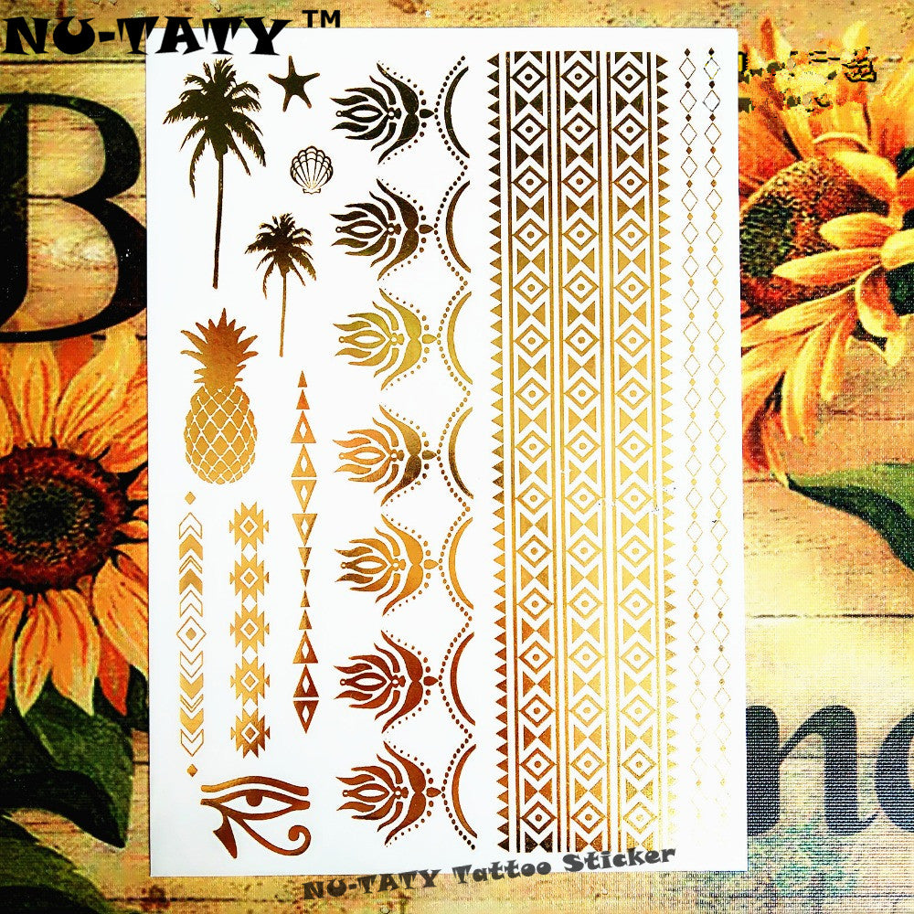 Nu-TATY Large golden coconut tree pineapple Temporary Tattoo Body