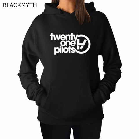 BLACKMYTH twenty one pilots Fashion Lettered Printing Black Grey Hoody Crewneck White Hoodies Sweatshirt Women's Loose Tops