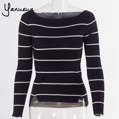 Colorful Apparel All-match Slim Striped Knitting Women Sweater Pullover 2016 Spring Autumn Korea Long Sleeve  Sweaters CA481