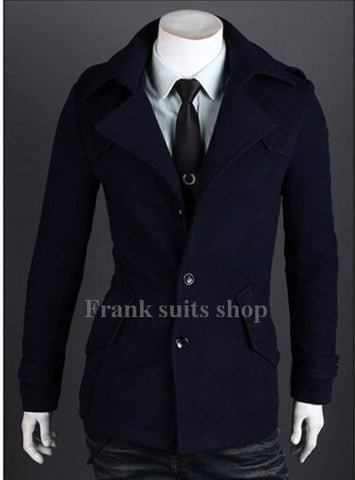 Custom made Men's Wool Blend Buttoned Top Coat men wool coats woolen jacket man overcoat korean autumn winter outwear coats