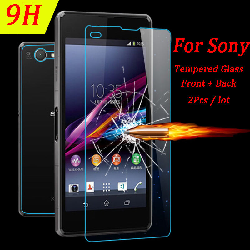 2Pcs Front + Back Screen Protector Tempered Glass for Sony Xperia M4
