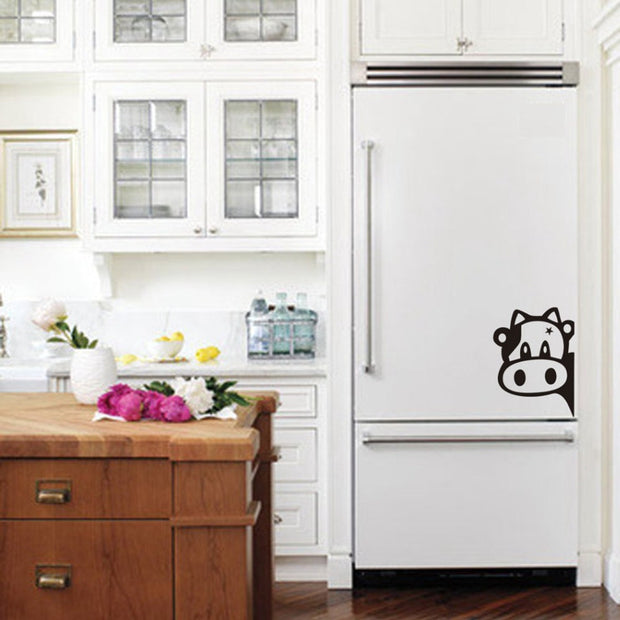 Funny Cow Kitchen Fridge Sticker , Vinyl Cow Decals  For Home