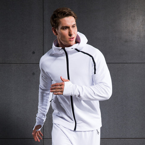 Men Sweater Hoody Coat Fitness Clothes Fashion Casual Long Sleeve 100 % Cotton