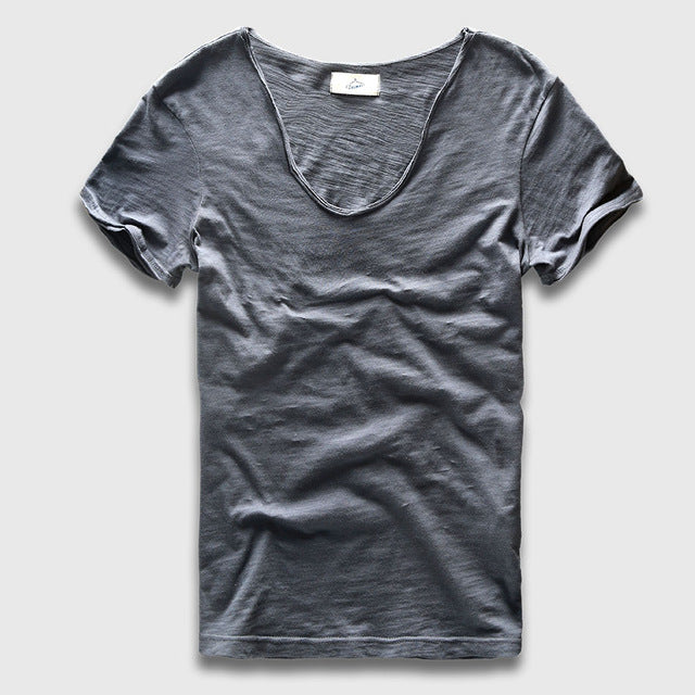 Men Basic T-Shirt Solid Cotton V Neck Slim Fit Male Fashion T Shirts