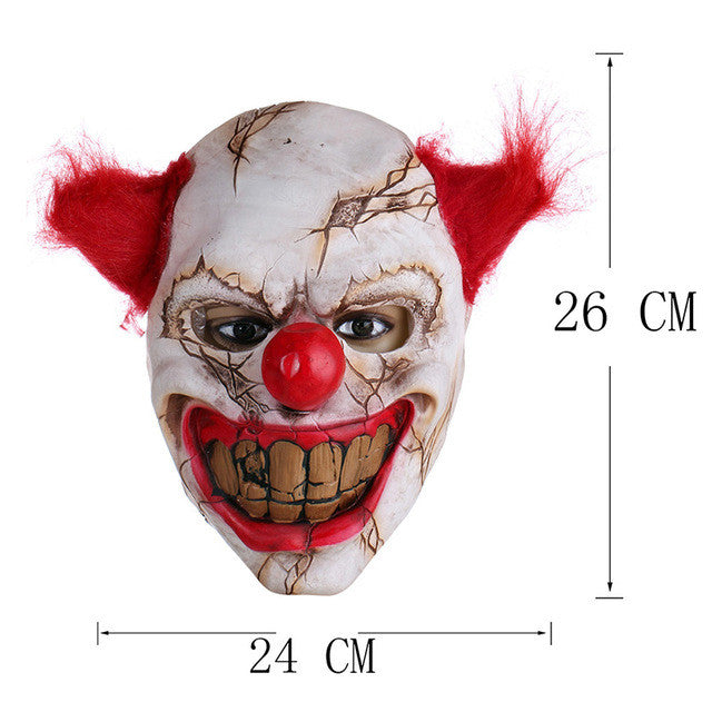 Scary Clown Latex Mask Big Mouth Red Hair Nose Cosplay Full Face