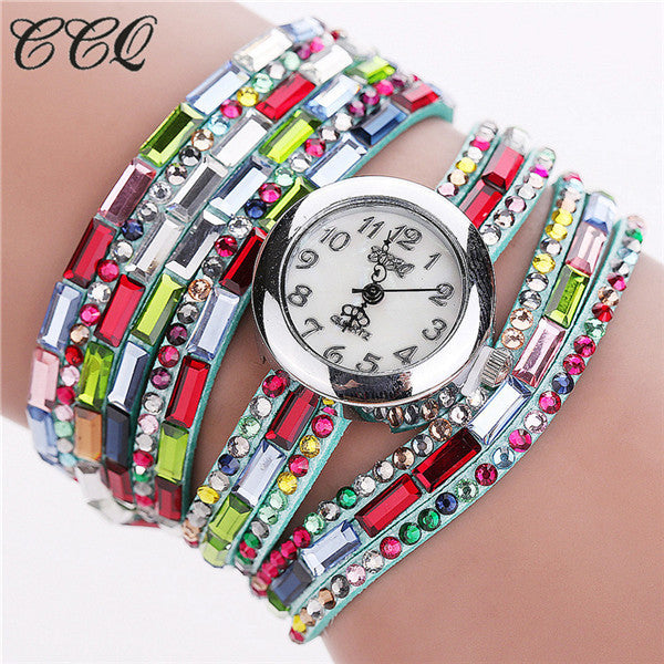 CCQ Fashion Luxury Gemstone Leather Wristwatches Casual Women Dress