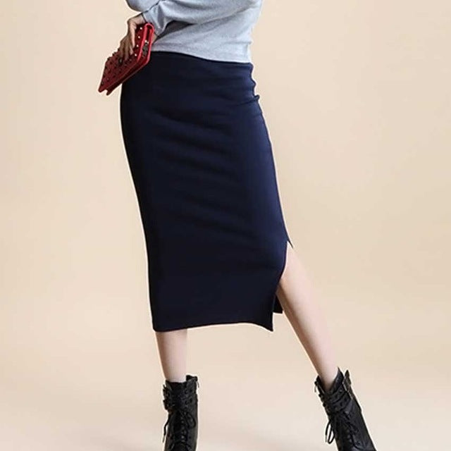2017 Summer skirts Sexy Chic Pencil Skirts Women Skirt  Wool Rib