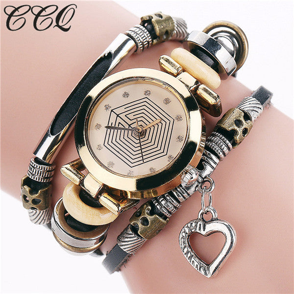 CCQ Fashion Vintage Leather Bracelet Watches Women Casual Love Heart