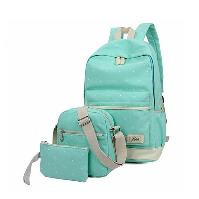 3 pieces Sets Backpacks Women Backpack Canvas Vintage Canvas School