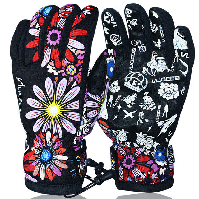 BOODUN winter ski gloves waterproof windproof plate single men and