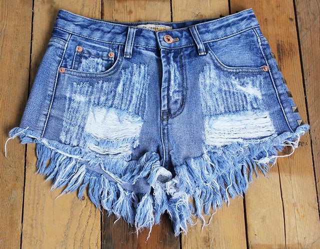 2017 Women's Fashion Brand Vintage Tassel Rivet Ripped Loose High