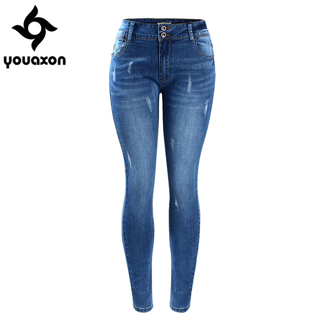 2052 Youaxon Women`s Basic Chic Style Fading Stretch Skinny Ture Denim