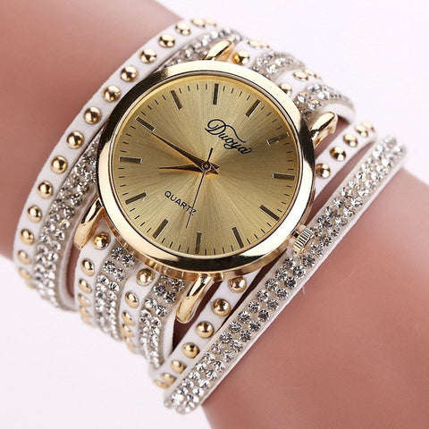 Duoya brand new arrival luxury brand casual women 39 s watches pu leather nantahalas for Watches brands for girl
