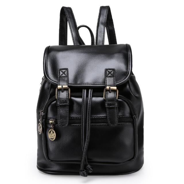 Brand Women Pu Leather Backpack Feminina Vintage Casual Drawstring