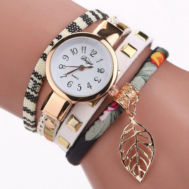 Women Fashion Casual Bracelet Watch Leaf Pendant Fabric Wristwatch