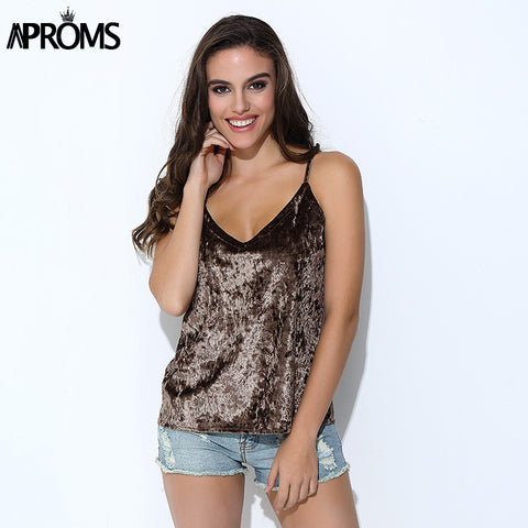 Aproms Summer Style Sleeveless Velvet Crop Top Women Pink Tank Top Sexy Deep V-Neck Camisole Tank Casual Party 90's Girls Tops