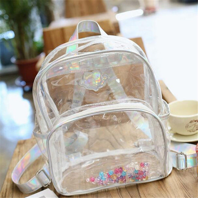 2017 Hot Designer PVC Transparent Backpack Women Fashion Laser Beads