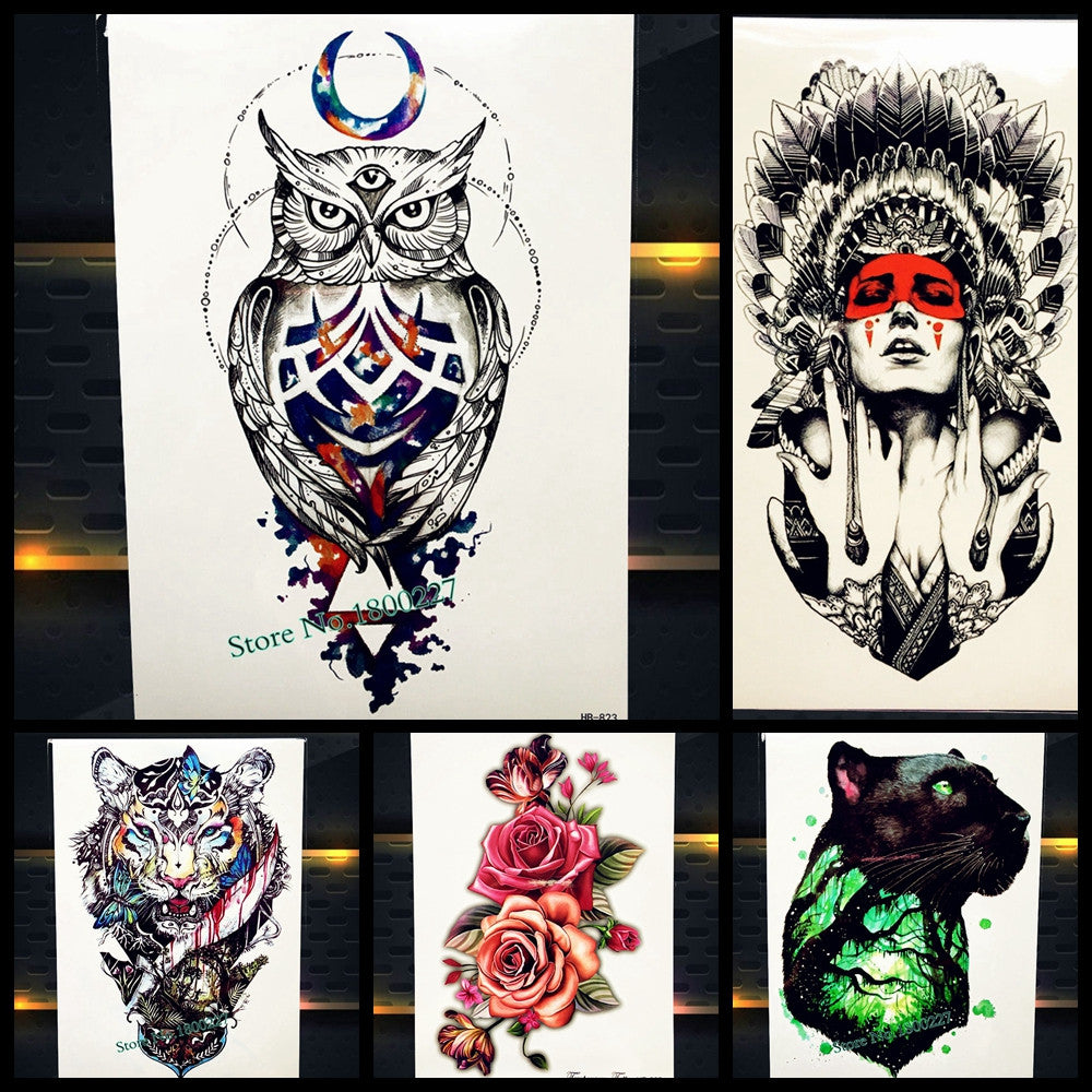 Hot Sale Trendy Waterproof Wise Owl Tattoo Sleeve For Women Men Body